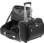 Waterville Vinyl Pilots CaseComputer Bag with Trolley Wheels and Retractable Handle BLACK